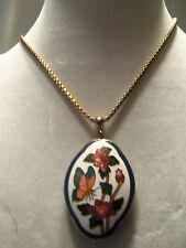 (TRIFARI) INCREDIBLE Vintage Cloisonne BUTTERFLY Style Pendant Necklace 13EN231