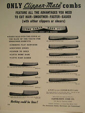 1950's Barber CLIPPER-MATE COMBS Salesman Color Sign Ad 10 DRAWINGS