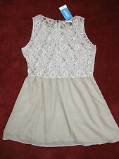 "BNWT LADIES ""ARK"" GLAMOROUS STONE COLOURED LACE TOP DRESS ~ UK 14~NEW ~ COST £25"