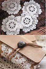 12Pcs Vintage Lace Hand Crochet Doily Cup Coaster Applique Round White Snowflake
