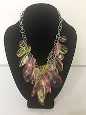 R.J. Graziano Silver Chain Pink/Yellow Beaded Statement Necklace