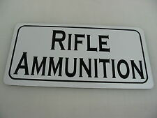 RIFLE AMMUNITION Sign Military Room Shop Machine Gun Club Tank Safe Collector