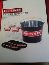 Craftsman Pint Glass Bucket Gift Set New in Box 4 Glasses 8 Coasters  and Bucket