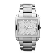 **NEW** MENS ARMANI EXCHANGE AX SILVER SQUARE TENNO  WATCH - AX2201 - RRP £149