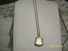 """Locket With Chain Lovely Antique 1/20 & 12 Karat Gold Filled 10"""" Chain"""