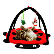 Cat Pet Toy Foldable Activity Play Tent Mat Bed Pad Blanket House Bells Mouse
