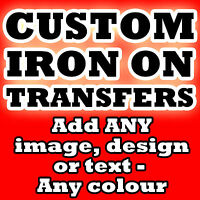 * CUSTOM IRON ON T SHIRT TRANSFER * PERSONALISED TEXT ANY COLOUR!*