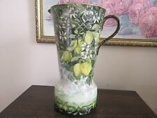 Vienna Austria Hand Painted Vase Pitcher Green Flowers Lemons Damaged