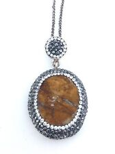 """Sterling Silver 925 Druzy Stone Pendant w/Black & White Crystals w/ 15"""" Necklace"""