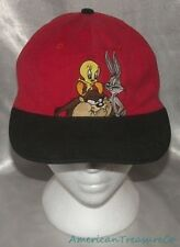 Rare Vintage 90s LOONEY TUNES Red And Black TAZ BUGS & TWEETY Adjustable Cap Hat