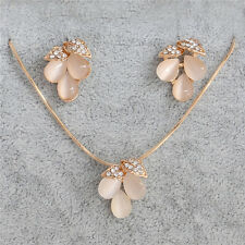Crystal Nice Women Opal 18k Gold Filled Stud Earrings Necklace Jewelry Set