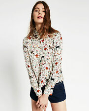 ZARA CROPPED ANIMALS SHIRT SIZE XS