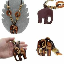 Boho Jewelry Necklace Long Hand Made Bead Wood Elephant Pendant Ethnic Style