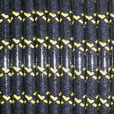 MAGNETO SPARK PLUG WIRE 7MM  COPPER CORE, WOVEN BLACK W/YELLOW TRACERS