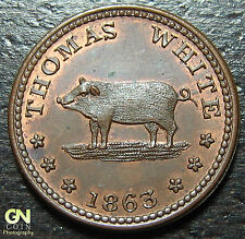 1863 Civil War Token Hog Ny630Ch3a- Make Us An Offer! #O3957