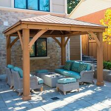 12 x 12 Wood Gazebo Heavy Duty Outdoor Aluminum Roof for Patio Sets Hot Tubs Spa