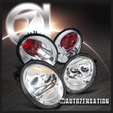 Fit 98-05 VW Beetle Chrome Halo LED Projector Headlights+Clear Tail Brake Lamps