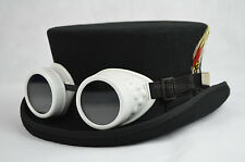 Junior Top Hat - DeadMan Top Hat Classic 100% Wool Hand Made - Steampunk Goggles