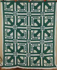 20's Vintage Green Trees Birds in Flight Antique Quilt Top ~GREAT DESIGN!