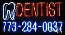"NEW ""DENTIST"" W/YOUR PHONE NUMBER 37x20 REAL NEON SIGN w/CUSTOM OPTIONS 10676"
