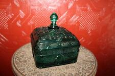 Vintage Retro Mid-Century Mod Blue Green Teal Covered Candy Dish Bees Beehive