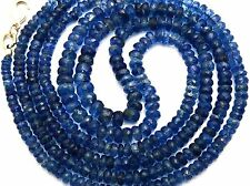 NATURAL GEM KYANITE 3-6MM FACETED RONDELLE BEADS 85CTS. FINISHED NECKLACE 16.5""