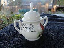 Cracker Barrel Season of Peace Red Cardinal Holly Off White Covered Sugar Bowl