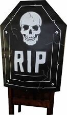 "Happy Halloween(1) RIP Tombstone & Skull Chair Cover. Size 19 X 26""."
