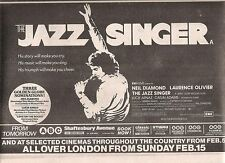NEIL DIAMOND Jazz Singer Movie 1981 UK Press ADVERT 12x8 inches