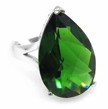 #R61624 Large 18.0ct Forest Green Helenite Pear Solitare Sterling Silver Ring