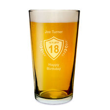 Personalised Beer Pint Glass 18th 21st ( any age ) Birthday Gift for Him - UK