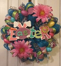 "23"" EASTER SPRING FLORAL BUNNY EGGS  DECO MESH WREATH"