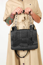 Large black ostrich skin leather bag, satchel carry handle shoulder messenger