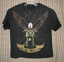Mens Ride Hard Eagle on Motorcycle Cotton Short Sleeve Tee Sz XL C:50 W:48 L:27