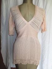 Anthropologie pink lighweight open knit babydoll deep v long sweater sz S