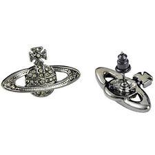 2015 Vivienne Westwood Silver Black Full drill Saturn stud earrings Box + Bag