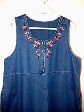 Classic Elements Denim Jumper/Dress--size L (14-16)  Nice floral embroidery!