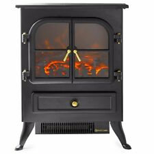 1500W Fireplace Standing Electric Heater Flame Wood Log Decorate Stove Glass