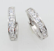 14K Real White Gold 2mm Width 7 stone Channel Set Polished Hoop Huggies Earrings