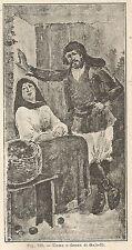 A1211 Uomo e donna di Galtelli - Xilografia - Stampa Antica del 1898 - Engraving