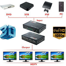 Full HD HDMI Splitter 1X4 4 Port Hub Repeater Amplifier v1.3 3D 1080p 1 In 4 Out