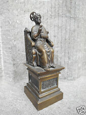 ANTIQUE BRONZE STATUE OF SAINT PETER ON ELOBORATE THRONE THE KEYS TO HEAVEN ROME