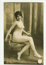 c 1920 Sexy French Deco NUDE SMILING BEAUTY risque photo postcard