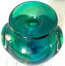 Vintage Mdina* Blue Green Sculptured Art Glass Vase 1960's / 1970's (04)