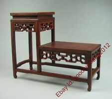 pedestal display stand new China red suan-zhi wood carving rosewood base 8.7""