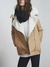 The Fifth Above & Beyond Camel Aviator Faux Sheepskin Fur Jacket XS S M L XL