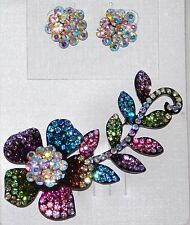 ELEGANT MULTI COLOR RHINESTONE CRYSTAL FLOWER BROOCH PIN