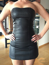 SILENCE + NOISE Women's Black Vegan Leather Zip Up Strapless Mini Dress Sz 0 NEW