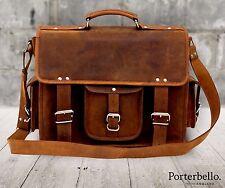 Handmade Hunter Leather Satchel Briefcase Laptop Messenger Bag (RRP £129.99)
