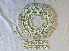 Vintage Gold and Silver Lace & Swags on White China Mosaic Rim Tiles